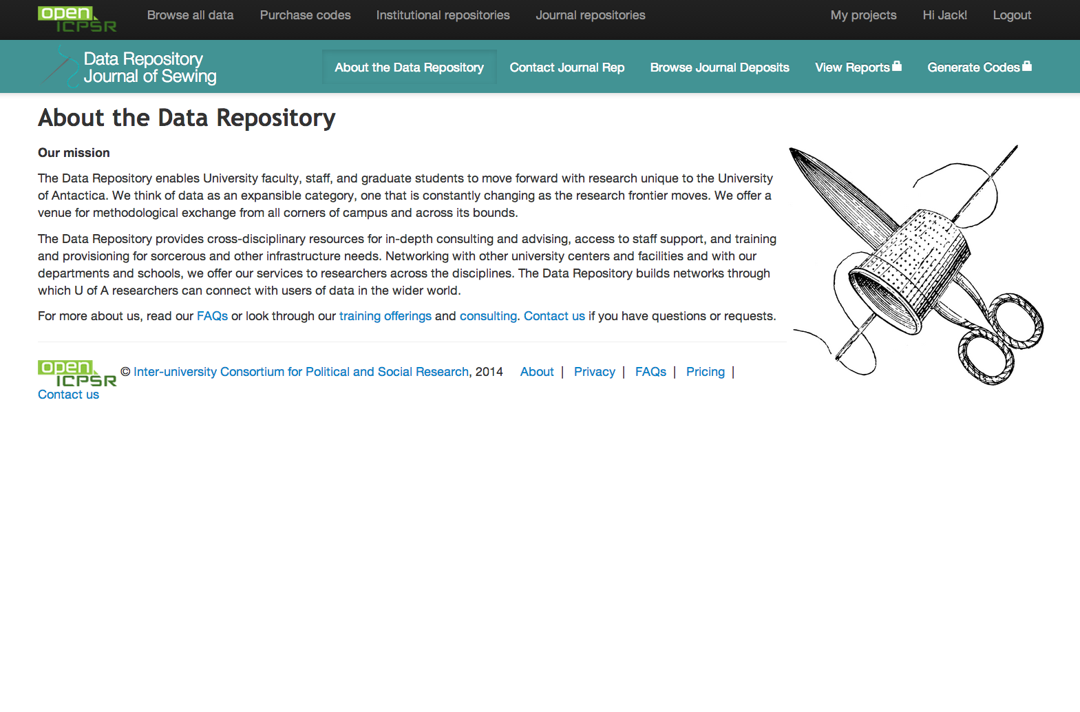 Screenshot of About the Repository page