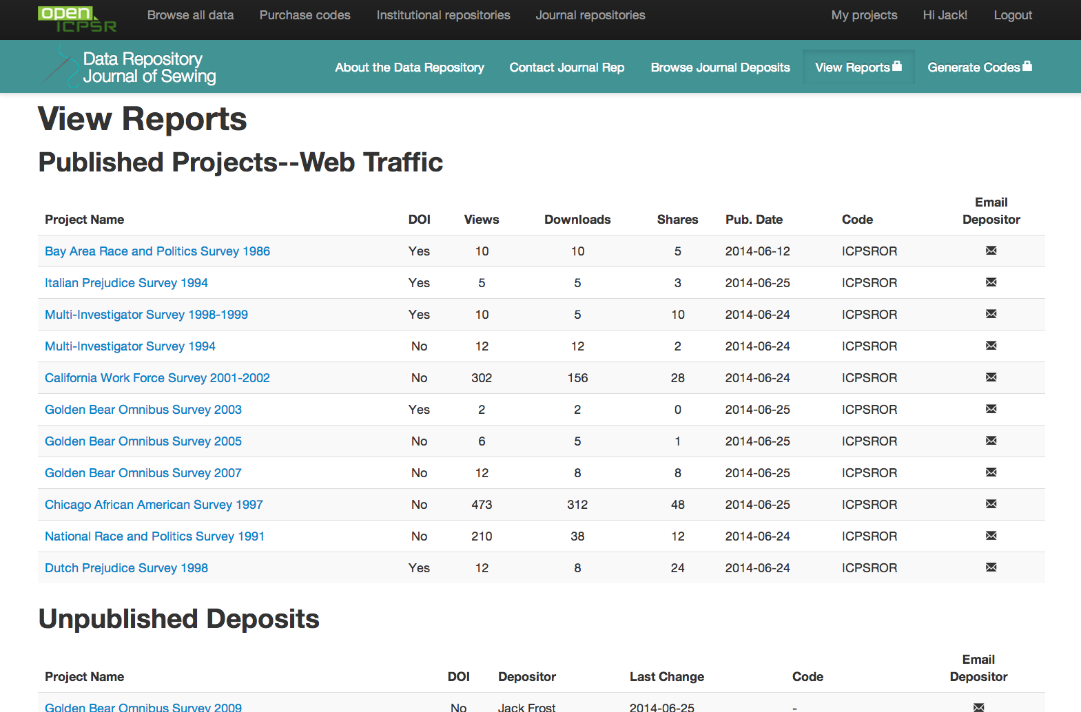 Screenshot of Reporting page